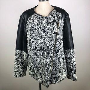 Calvin Klein Faux Leather Trim Geometric Jacket